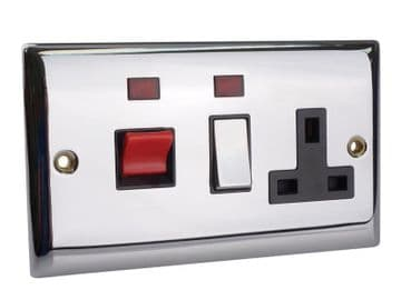 Switched Cooker Control Unit Neon 45A 1-Gang Chrome